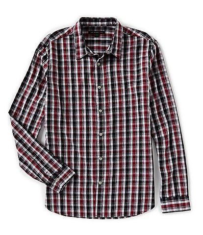 John Varvatos Star USA Plaid Snap-Front Long-Sleeve Woven Shirt