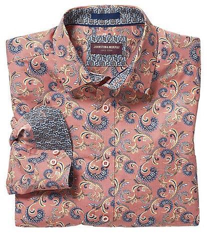 Johnston & Murphy Checkered Paisley Print Long-Sleeve Woven Shirt
