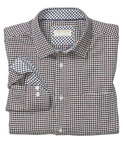 Johnston & Murphy Collection Two-Tone Houndstooth Long-Sleeve Woven Shirt