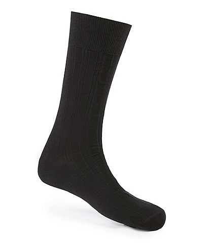 Johnston & Murphy Cotton-Blend Ribbed Dress Socks