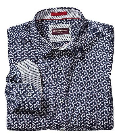Johnston & Murphy Flyaway Print Long-Sleeve Woven Shirt