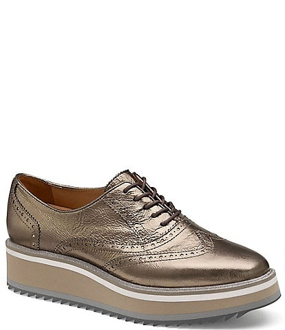 Johnston & Murphy Gracelyn Metallic Leather Lace-Up Wingtip Loafers