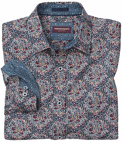 Johnston & Murphy Large Floral Print Long-Sleeve Woven Shirt