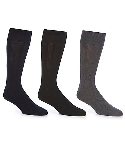 Johnston & Murphy Men's Cotton Ribbed Sock 3-Pack