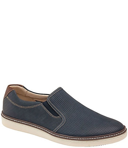 Johnston & Murphy Men's McGuffey Perforated Leather Slip-On Sneakers