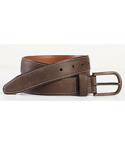 Johnston & Murphy Men's Oil Contrast Stitch Belt