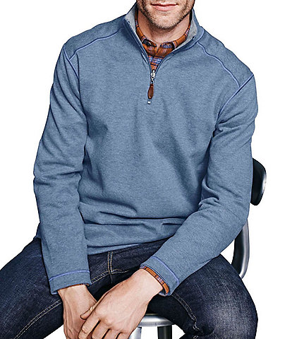 Johnston & Murphy Reversible Solid Quarter-Zip Pullover