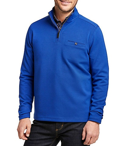Johnston & Murphy Classic Fit Solid Wrinkle-Resistant Stretch Quarter-Zip Pullover