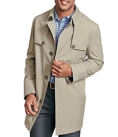 Johnston & Murphy Water-Resistant Stretch Twill Trench Coat
