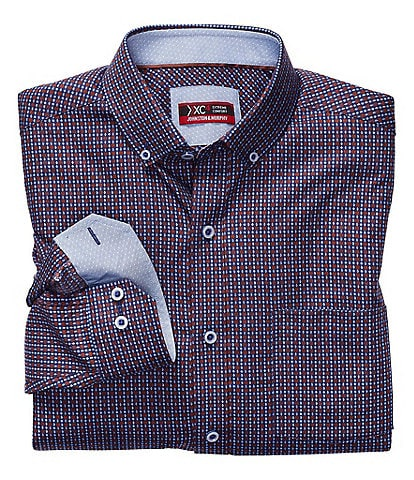 Johnston & Murphy XC4 Non-Iron Diamond Gear Print Stretch Long-Sleeve Woven Shirt