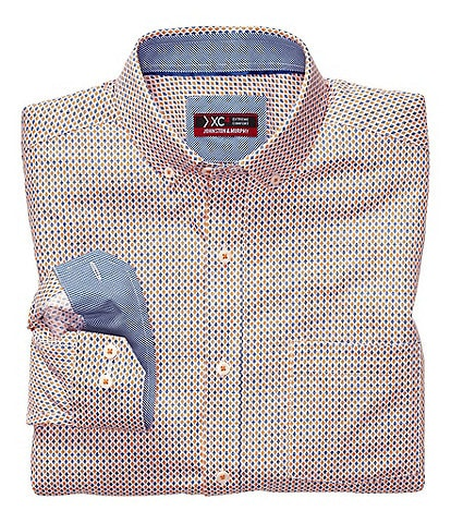 Johnston & Murphy XC4 Classic Fit Non-Iron Diamond Print Stretch Long-Sleeve Woven Shirt