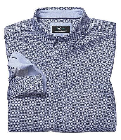 Johnston & Murphy XCFlex Diamond Grid Print Stretch Long-Sleeve Woven Shirt