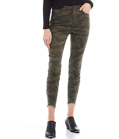 Jolt Camo Chewed Hem Skinny Crop Pants