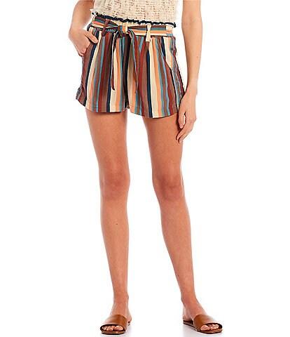 Jolt High-Rise Paperbag Waist Stripe Knit Shorts