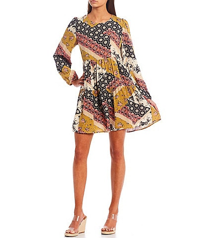 Jolt Patchwork Long Sleeve Tiered Babydoll Dress