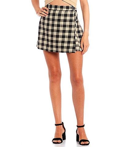 Jolt Plaid Wrap Skirt