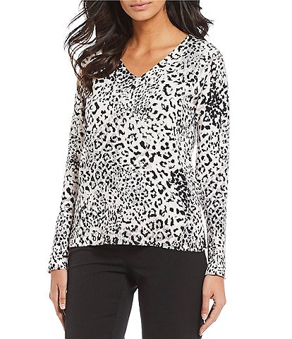 Jones New York Animal Print Fine Gauge Knit V-Neck Sweater