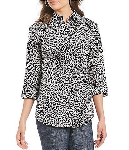 Jones New York Back Lace-Up Leopard Print Button Front Shirt
