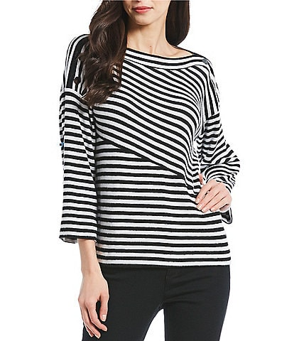 Jones New York Brushed Rib Knit Jersey Boat Neck Flare Sleeve Stripe Top