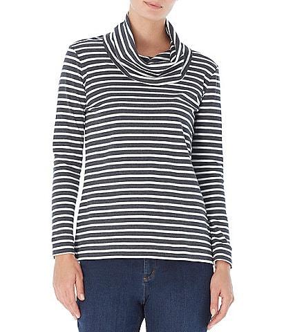 Jones New York Cotton Knit Jersey Horizontal Stripe Print Cowl Neck Long Sleeve Top
