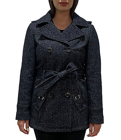 Jones New York Double Breasted Sweater Fleece Belted Trench Coat