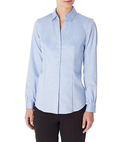 Jones New York Easy-Care Cotton Long Sleeve Button-Front Shirt