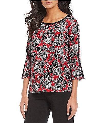 Jones New York Floral Print 3/4 Sleeve Contrast Trim Top