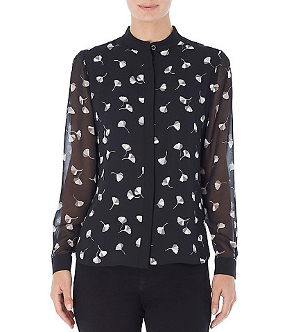 Jones New York Floral Print Crepe de Chine Banded Collar Top with Long Chiffon Sleeves
