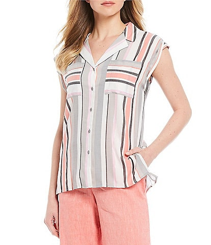 Jones New York Lurex Yarn Dye Stripe Print Cap Sleeve Button Front Hi-Low Top
