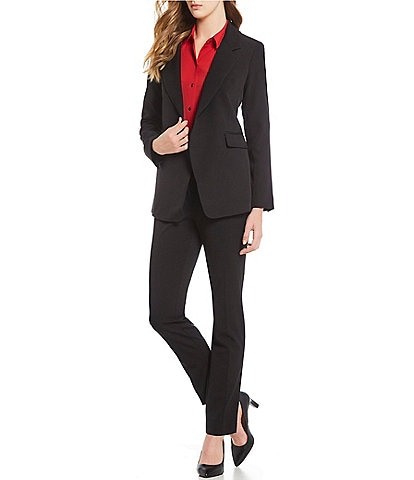 5221005b3b3 Jones New York Notch Lapel Open Front Blazer   Grace Tapered Straight Leg  Pants