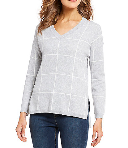 Jones New York Plaid Drop Shoulder V-Neck Sweater