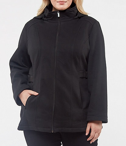 Jones New York Plus Single Breasted Hooded Sweater Fleece Coat