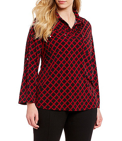 Jones New York Plus Size Checkered Jersey Utility Top