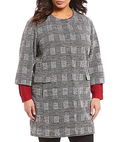 Jones New York Plus Size Drop Shoulder Plaid Wrap Jacket