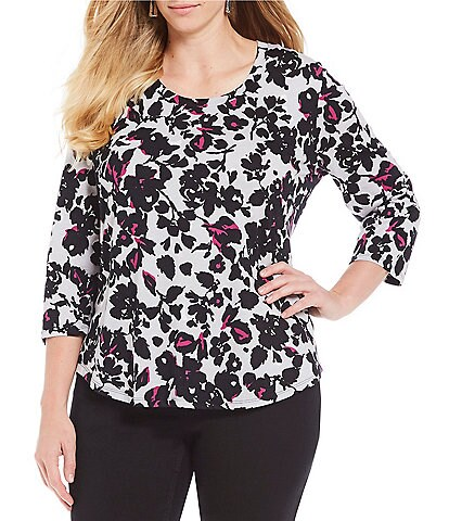 Jones New York Plus Size Floral Print Scoop Neck Knit Tee