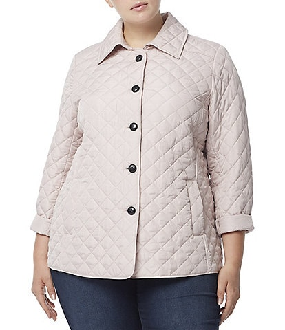 Jones New York Plus Size Point Collar Long Sleeve Button Front Quilted Jacket
