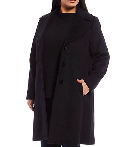 Jones New York Plus Size Single Breasted Wool Blend Empire Coat