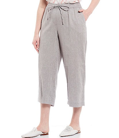 Jones New York Plus Size Twill-Crossdye Pull-On Crop Pants
