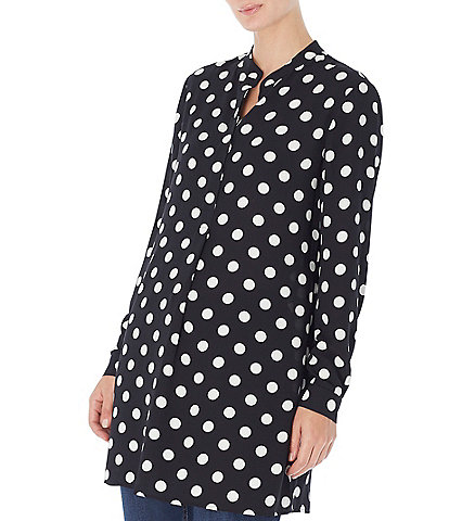 Jones New York Polka Dot Print Crepe Long Sleeve Tunic Blouse