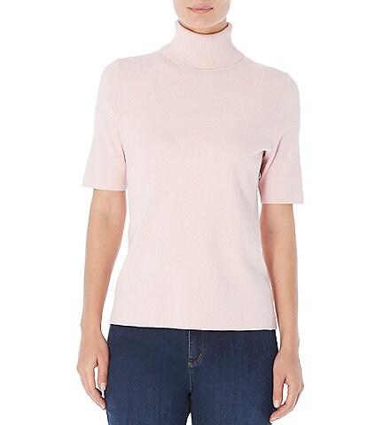 Jones New York Ribbed Turtle Neck Short Sleeve Fine Gauge Knit Sweater