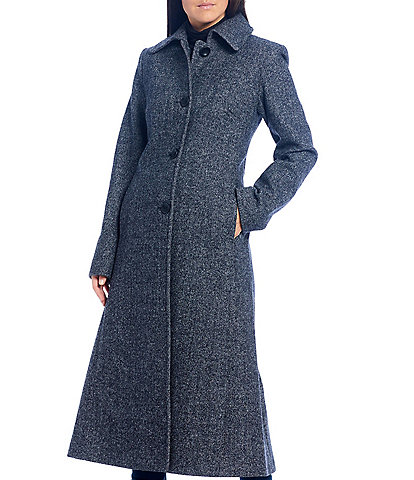 Jones New York Single Breasted Long Herringbone Wool Blend Coat