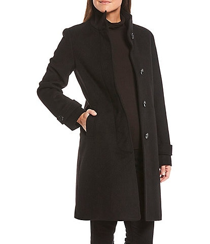 Jones New York Single Breasted Stand Collar Wool Blend Coat