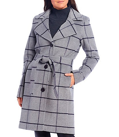 Jones New York Single Breasted Windowpane Wool Blend Belted Coat
