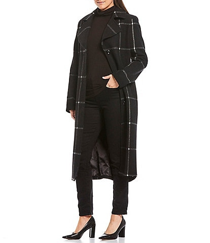 Jones New York Single Breasted Wool Blend Windowpane Plaid Belted Trench Coat