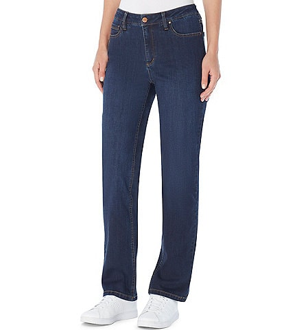 Jones New York Stretch Denim Lexington Straight-Leg Jeans