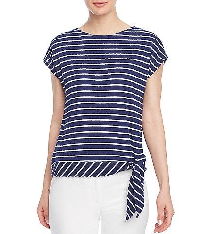 Jones New York Tie Side Stripe Dolman Cap Sleeve Knit T-Shirt