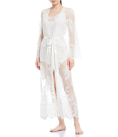 Jonquil Lace Long Wrap Robe
