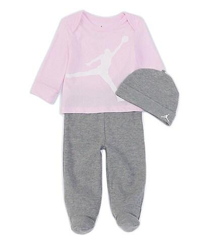 Jordan Baby Girls Newborn-9 Months Long-Sleeve Tee & Thermal Footed Pant Set