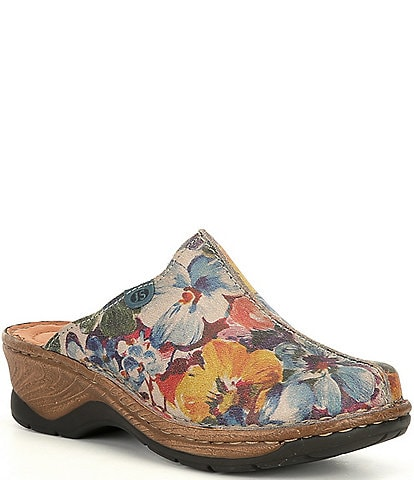 Josef Seibel Cat 51 Floral Print Leather Clogs