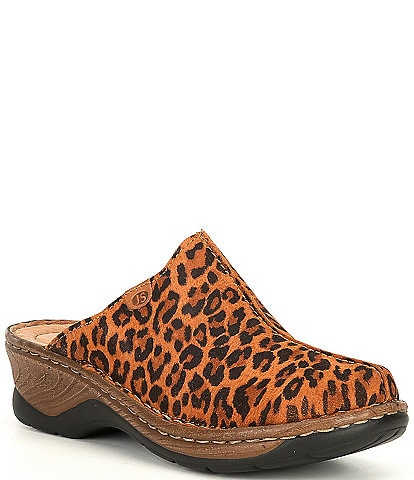 Josef Seibel Cat 51 Leopard Leather Clogs